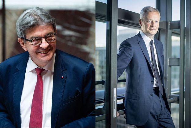 Jean-Luc Mélenchon à l'Assemblée nationale; Bruno Le Maire dans son bureau à Bercy.