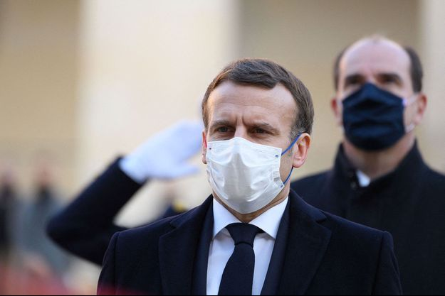 Emmanuel Macron et Jean Castex aux Invalides, jeudi dernier, à l'occasion d'un hommage au résistant Daniel Cordier.