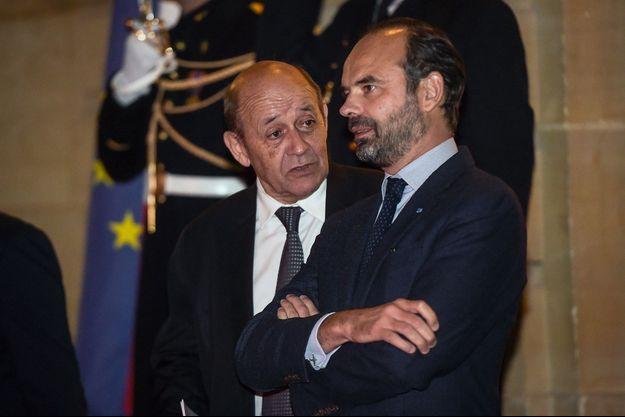 Jean-Yves Le Drian et Edouard Philippe à l'hôtel de Matignon, en novembre.