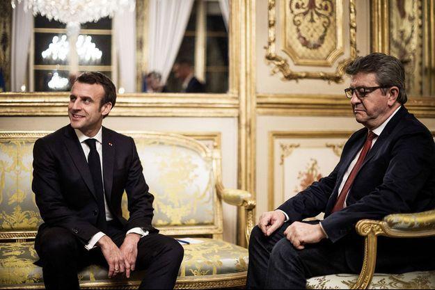 Emmanuel Macron reçoit Jean-Luc Mélenchon à l'Elysée le 6 février 2019.