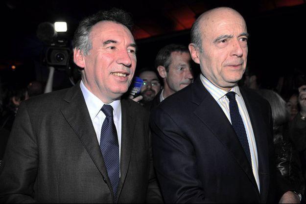 François Bayrou et Alain Juppé ensemble en mars 2014.