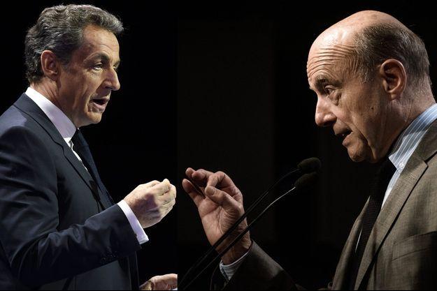 Nicolas Sarkozy à Paris le 9 octobre; Alain Juppé à Paris le 25 octobre (montage).