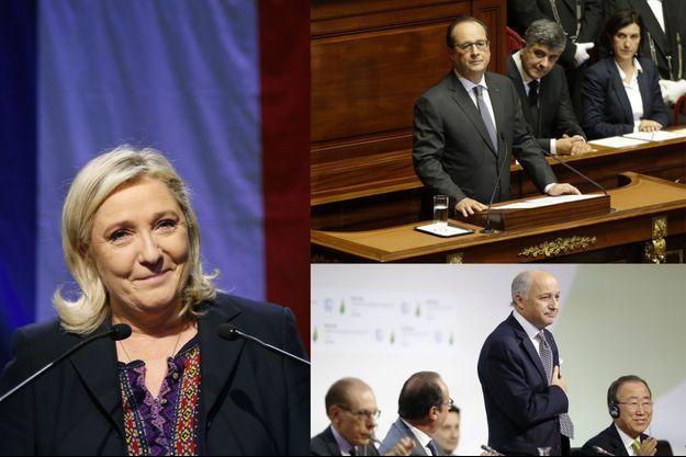 Marine Le Pen au soir du second tour des régionales, François Hollande au Congrès après les attentats et Laurent Fabius à la conclusion de la COP21.