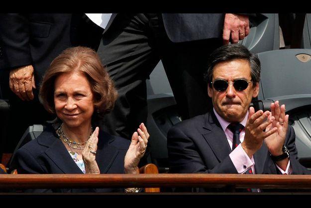 La reine Sophie d'Espagne était au côté du Premier ministre François Fillon aux Internationaux de tennis de Roland-Garros.