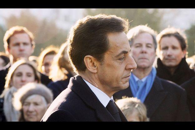 Nicolas Sarkozy le 15 janvier 2012 à Amboise lors de la célébration du centenaire de la naissance de Michel Debré, père de la constitution de la Ve république. A l'arrière-plan, le président du Conseil constitutionnel Jean-Louis Debré, fils de l'ancien Premier ministre du général de Gaulle.