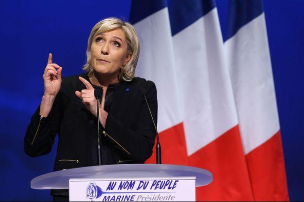 Marine Le Pen durant un discours à Lyon, le 4 février 2017.