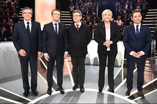 Les cinq candidats du débat de la présidentielle sur TF1.