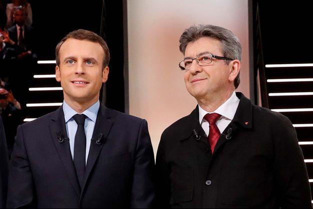 Emmanuel Macron et Jean-Luc Mélenchon lors du premier débat de la présidentielle.
