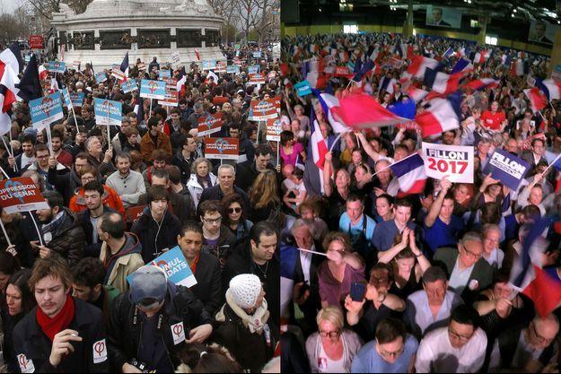 Partisans de Jean-Luc Mélenchon (à gauche), place de la République, le 18 mars et de François Fillon (à droite), le 9 avril à Paris.
