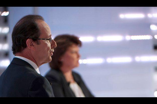 François Hollande et Martine Aubry lors du second débat de la primaire socialiste le 28 septembre dernier.