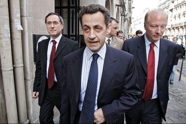 Nicolas Sarkozy , alors ministre de l'Intérieur, ici en compagnie de Claude Guéant et Brice Hortefeux en juin 2015.