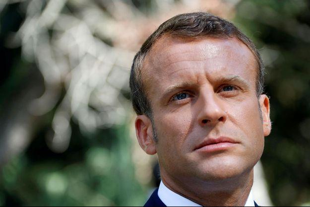 Emmanuel Macron à Saint-Raphaël, dans le Var, le 15 août.