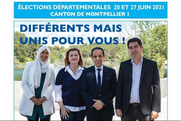 L'affiche de campagne, où la candidate remplaçante, Sara Zemmahi, pose aux côtés de trois colistiers.