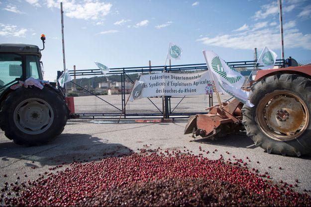 Les agriculteurs bloquent l'accès à des raffineries, comme ici à Châteauneuf-les-Martigues dans les Bouches-du-Rhône.