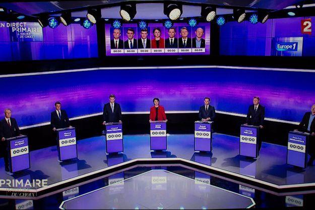 Les candidats à la primaire de la gauche lors du troisième débat.