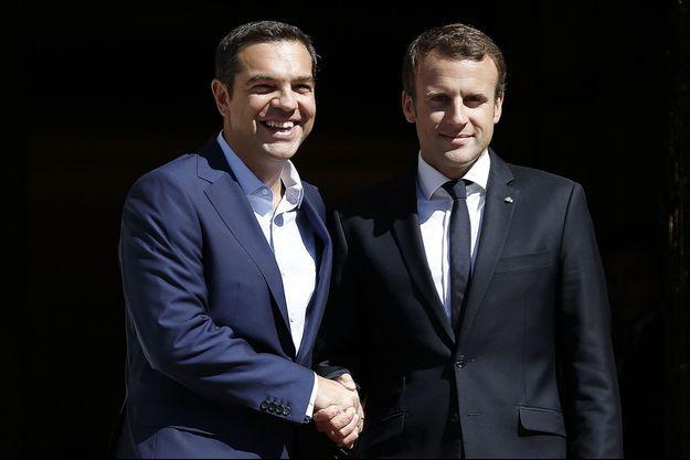 Alexis Tsipras et Emmanuel Macron à Athènes, jeudi.