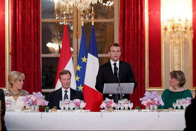 Emmanuel et Brigitte Macron ont reçu en mars à l'Elysée Henri et Maria Teresa de Luxembourg.