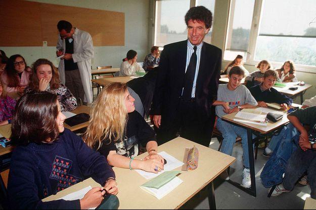 Jack Lang lors de la rentrée scolaire du 10 septembre 1992 à Paris.
