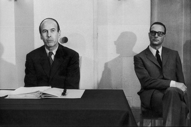 Valéry Giscard d'Estaing et Jacques Chirac en 1970.