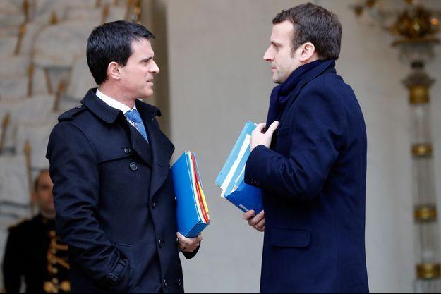 Manuel Valls et Emmanuel Macron ici à l'Elysée en mars 2016.