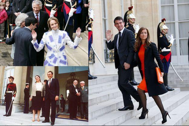 Dominique et Marie-Laure de Villepin le 17 mai 2007, lors de la passation de pouvoir avec François Fillon. Michel et Michèle Rocard à l'Elysée en 1981. Manuel Valls et Anne Gravoin à l'Elysée, le 5 mai 2014.