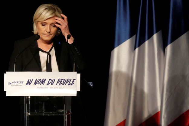Marine Le Pen, en meeting ici à Monswiller, le 5 avril.