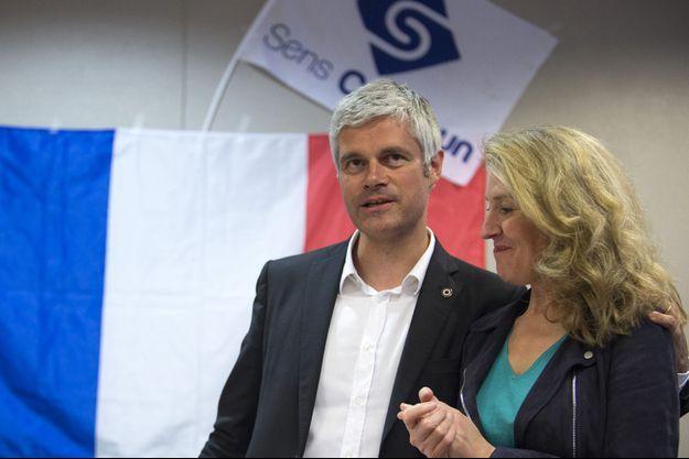 Laurent Wauquiez, avec Laurence Trochu, lors d'une réunion publique du mouvement Sens Commun à Lyon.