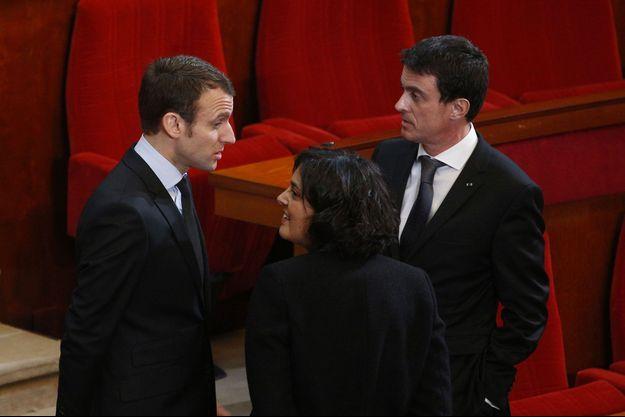 Emmanuel Macron, Myriam El Khomri et Manuel Valls, le 18 janvier au Conseil économique, social et énvironnemental.