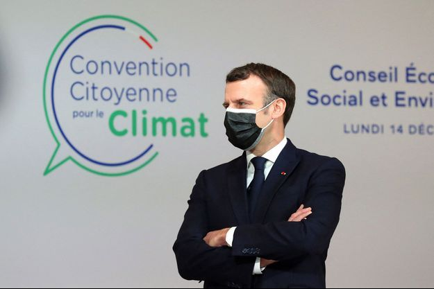 Emmanuel Macron à la Convention citoyenne pour le climat, en décembre dernier.