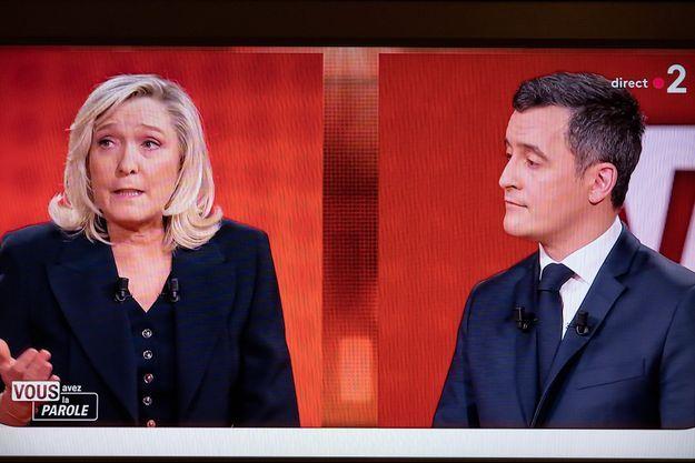 Marine Le Pen et Gérald Darmanin jeudi soir dans l'émission politique de France 2 «Vous avez la parole».