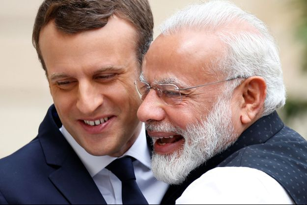 Emmanuel Macron et le Premier ministre indien Narendra Modi le 3 juin 2017.