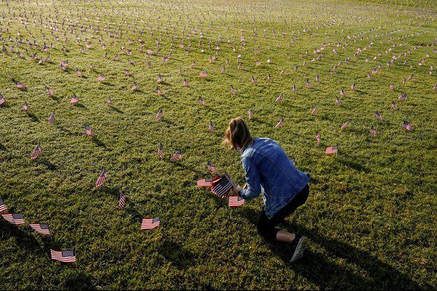 De petits drapeaux plantés sur l'esplanade du National Mall à Washington, pour representer les 200 000 morts du coronavirus aux Etats-Unis, le 22 septembre 2020.
