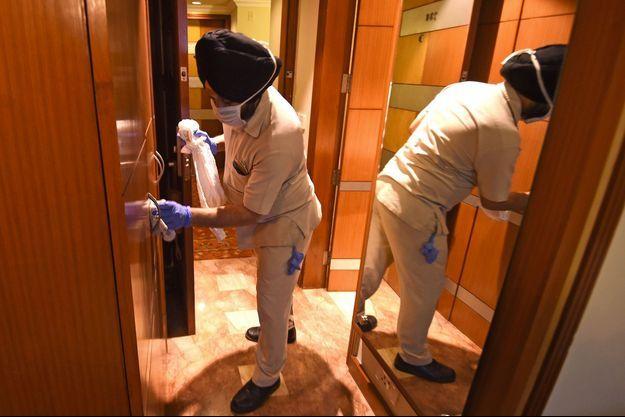 Dans un hôtel de luxe de New Delhi en Inde, le 19 juin. L'établissement va être utilisé pour faire face à une vague de cas de coronavirus.
