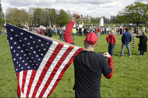 Manifestation contre le confinement à Olympia, capitale du Washington, le 19 avril (photo d'illustration).