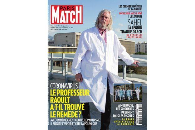 La couverture du numéro 3699 de Paris Match avec le professeur Raoult dans son IHU à Marseille, le 20 mars.