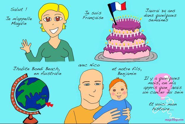 La première illustration de l'histoire de Magalie, sur son blog. (http://magsblog.com/en-francais/)