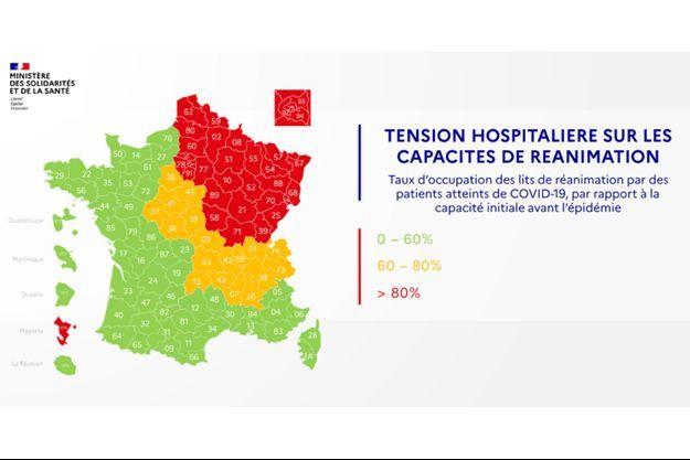 La carte des départements du 3 mai 2020.
