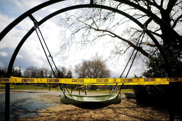 Un parc fermé en raison du coronavirus aux Etats-Unis.