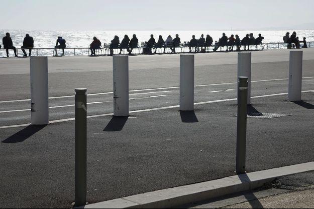 Sur la Promenade des Anglais à Nice, dimanche 21 février 2021.