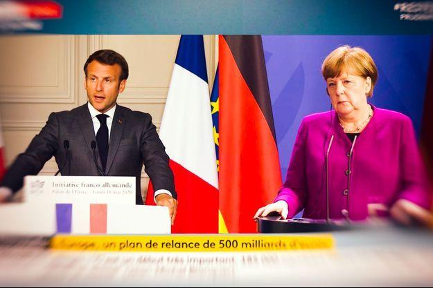 Conférence de presse commune d'Emmanuel Macron et d'Angela Merkel.