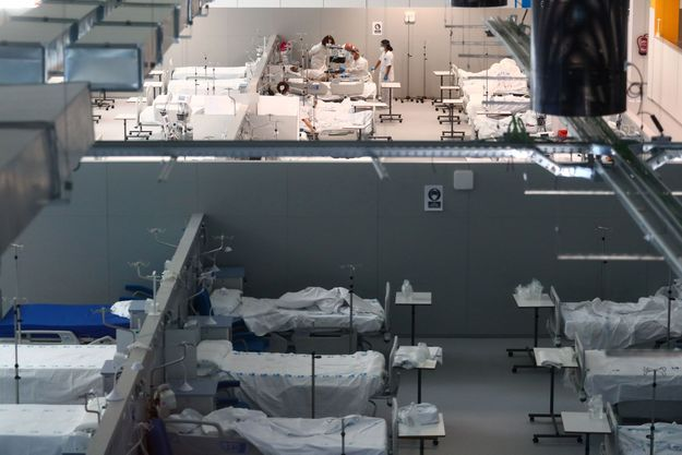 Au sein de l'hôpital Enfermera Isabel Zendal de Madrid, le 11 janvier 2021.