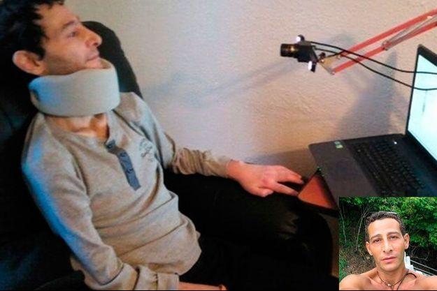 Michael, 43 ans, atteint de SLA. En médaillon, avant les tourments de la maladie.