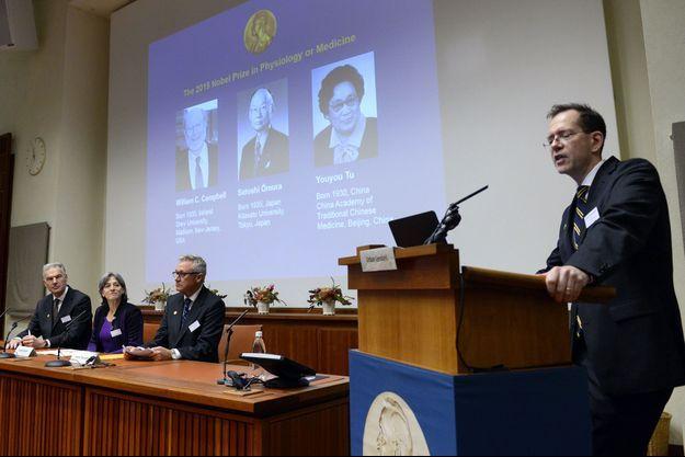 William Campbell, Satoshi Omura et Youyou Tu ont reçu ce lundi le prix Nobel de médecine.