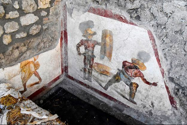 Le bout de fresque découvert à Pompéi.