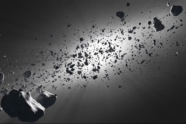 Illustration d'une ceinture d'astéroïdes.