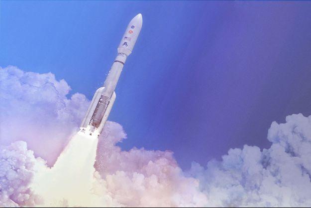 Vue d'artiste du lanceur Atlas V qui pourrait envoyer le robot Perseverance de la NASA sur Mars.