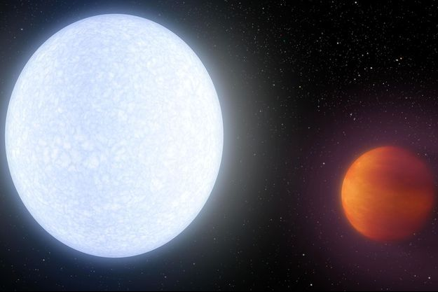 Illustration d'artiste de la planète Kelt-9b (à droite) qui tourne autour de son étoile.