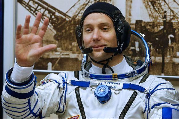 Thomas Pesquet lors de son premier départ dans l'espace le 17 Novembre 2016
