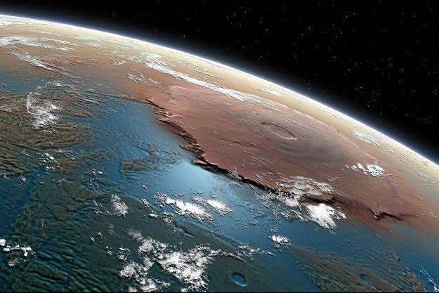 Illustration de la planète Mars couverte d'océans.