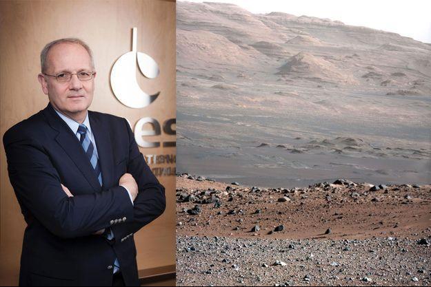 Jean-Yves Le Gall, président du CNES. A droite, une vue de la surface de Mars prise par le rover Curiosity en janvier 2013.